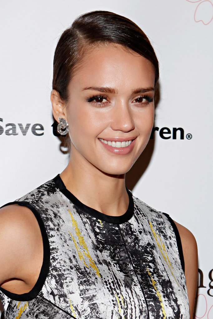 Jessica Alba wore a printed dress to the Outstanding Mother Awards in NYC.