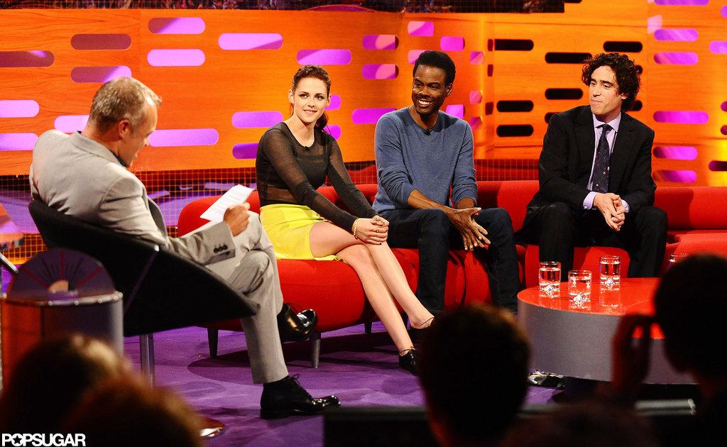 Kristen Stewart talked with Graham Norton, Chris Rock, and Stephen Mangan.