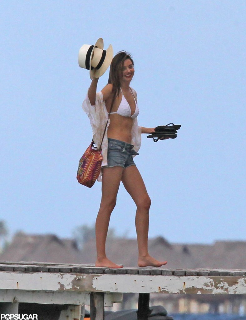 Miranda Kerr showed off her bikini body in Bora Bora.