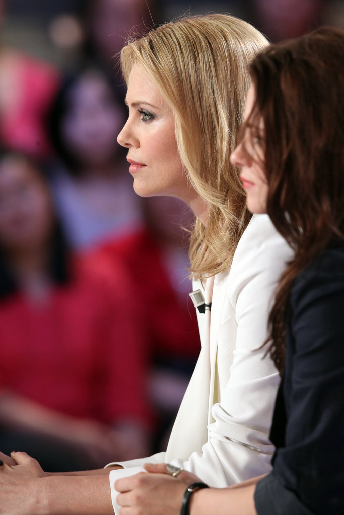 Charlize Theron sat down on a talk show in Paris.