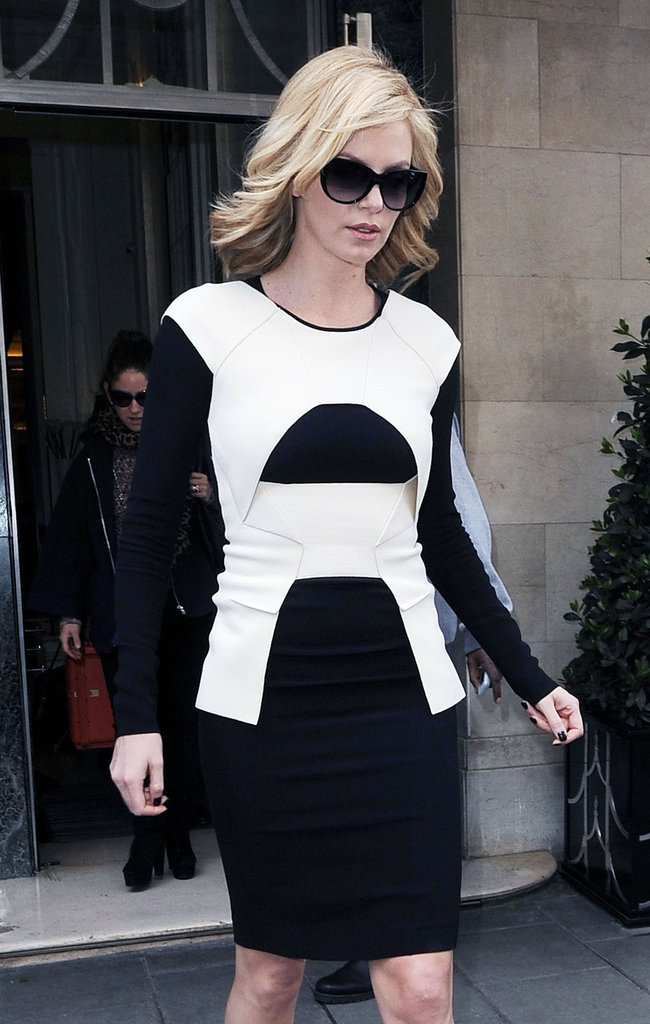 Charlize Theron wore a black-and-white dress.