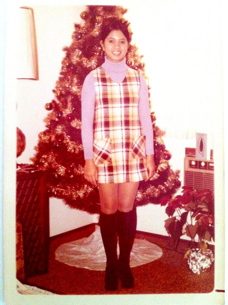 Fitness editor Michele Foley's mom looked schoolgirl chic in this plaid jumper and knee-high sock outfit.