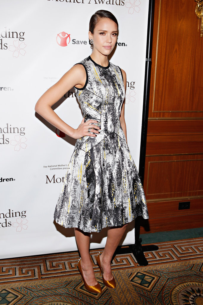 Jessica Alba chose a ladylike Narciso Rodriguez frock for the Outstanding Mother Awards in NYC.