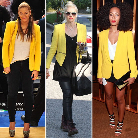 See why celebs are having a serious moment with yellow blazers.