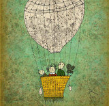 Orange Optimist Hot Air Balloon Art Print ($45)