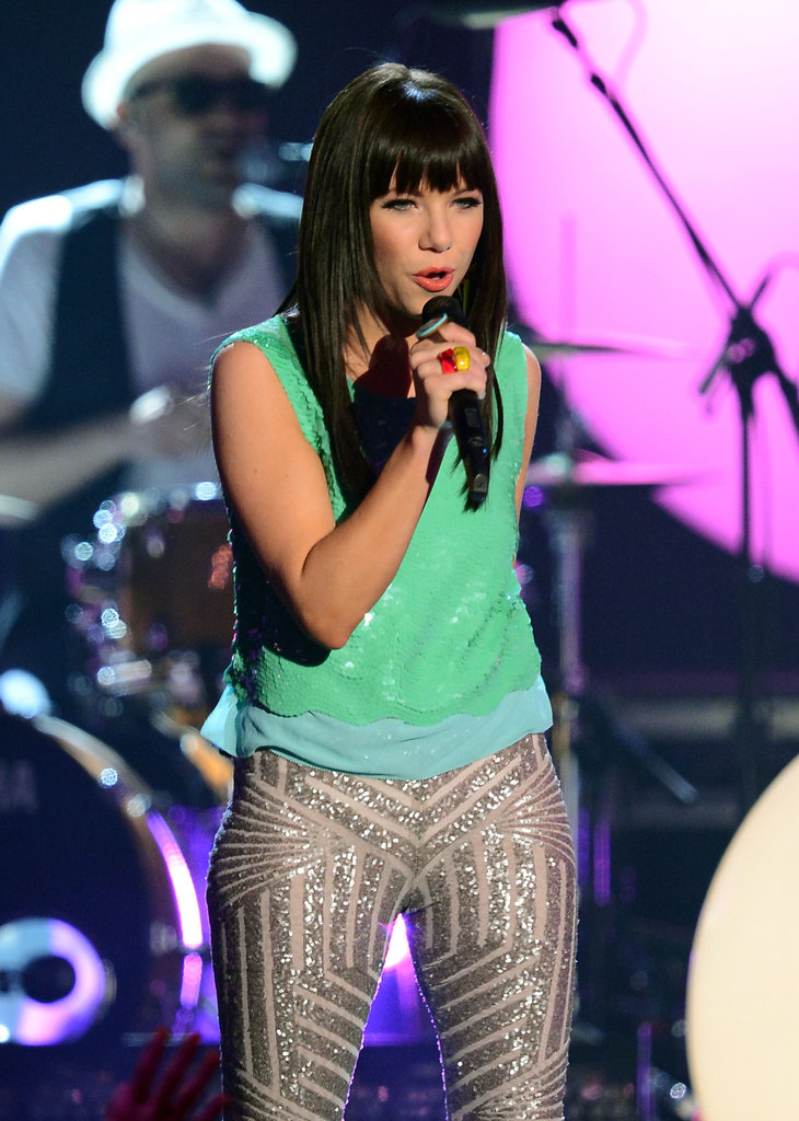 "Carly Rae Jepsen performed her hit song ""Call Me Maybe"" at the May 2012 Billboard Music Awards."