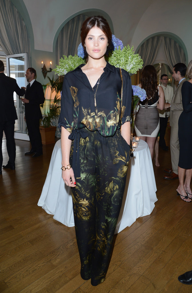 Gemma Arterton chose a printed jumpsuit for Gucci and Vanity Fair's party.