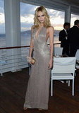 Natasha Poly worked a sexy, metallic gown for Gucci's party.