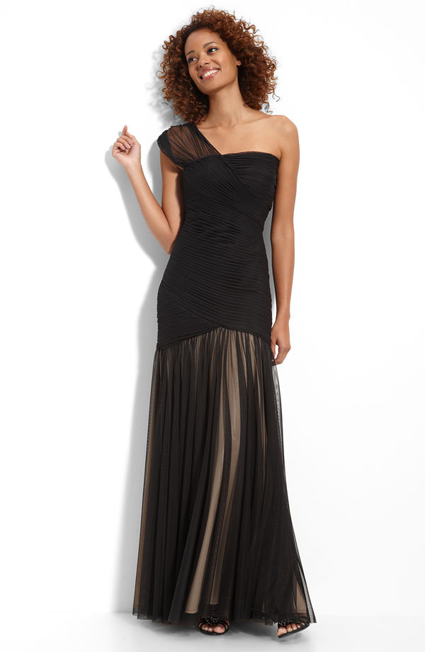 JS Collections Drop-Waist Shirred Mesh Gown ($198)