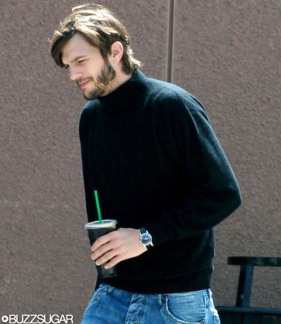 Ashton Kutcher on his way to the set of Jobs.