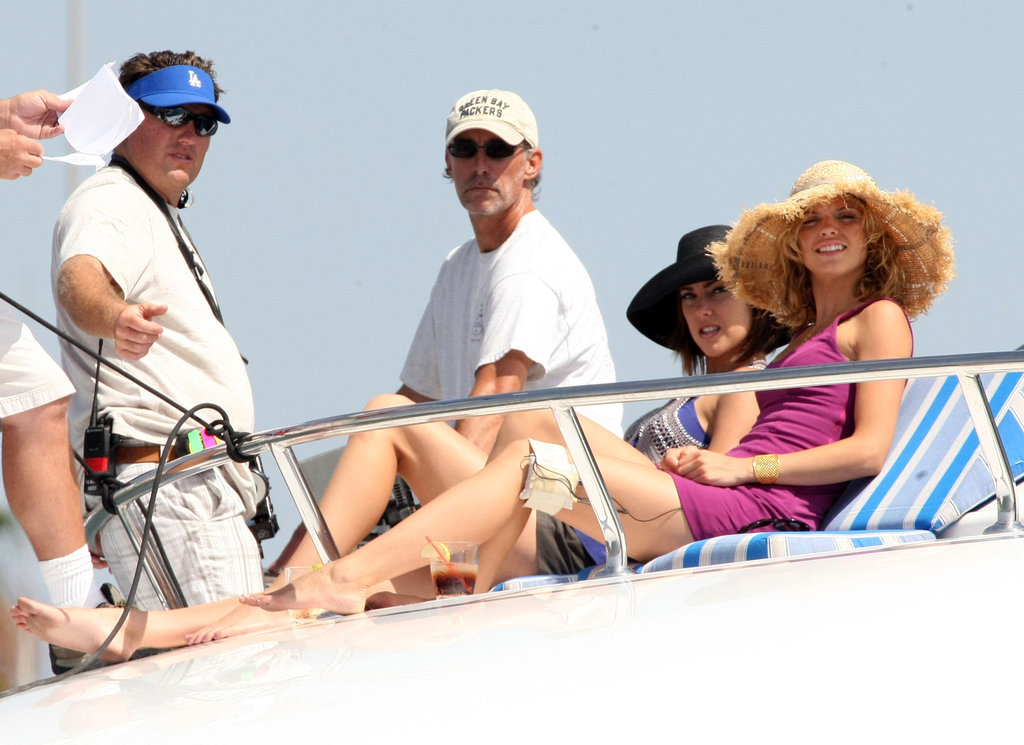 AnnaLynne McCord and Jessica Stroup along with the rest of the cast of 90210 shot scenes for the show on a yacht in Marina Del Rey in July 2009.
