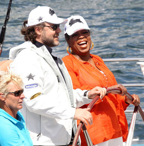 Oprah Winfrey caught a boat ride with Russell Crowe while filming her show in Australia in 2010.