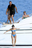 Lily Allen was pushed off the yacht by Jean-Yves Le Fer while Lila Moss and mom Kate Moss laughed in St. Tropez in August 2009.
