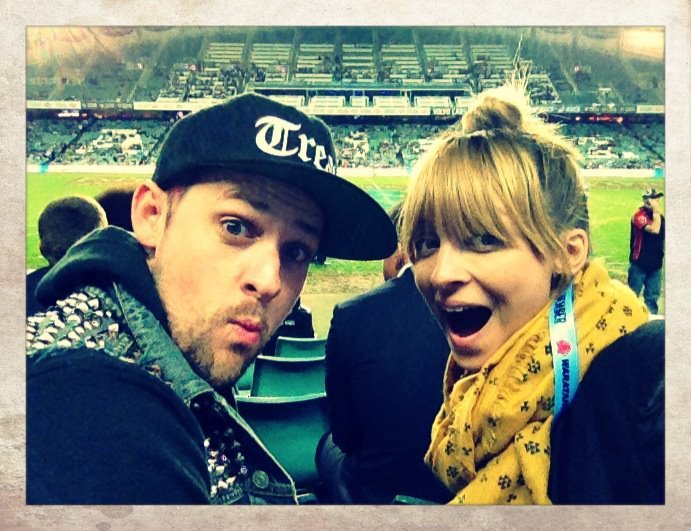 Nicole Richie and Joel Madden took in a rugby game during their trip Down Under. Source: Facebook User Nicole Richie