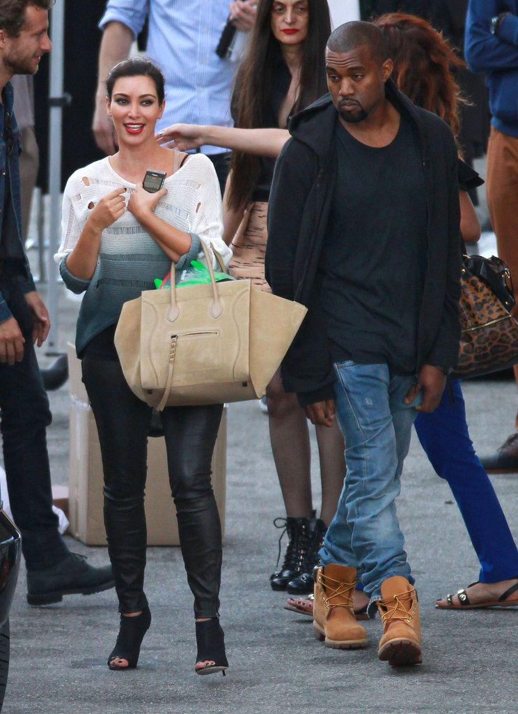 Kim Kardashian was all smiles as she walked with Kanye West.