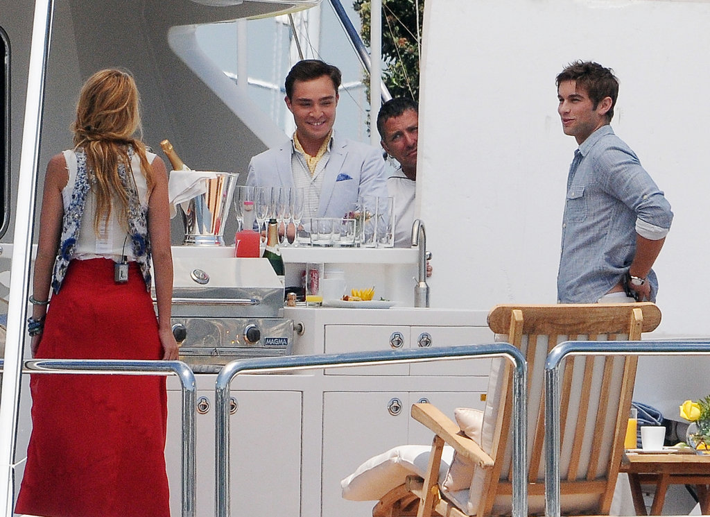 Blake Lively, Chace Crawford, and Ed Westwick filmed for Gossip Girl on a yacht in LA in August 2011.