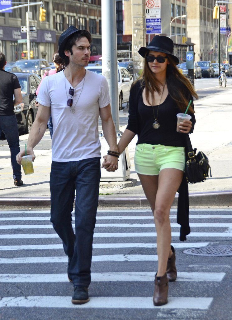 Ian Somerhalder and Nina Dobrev held hands during a walk in NYC.