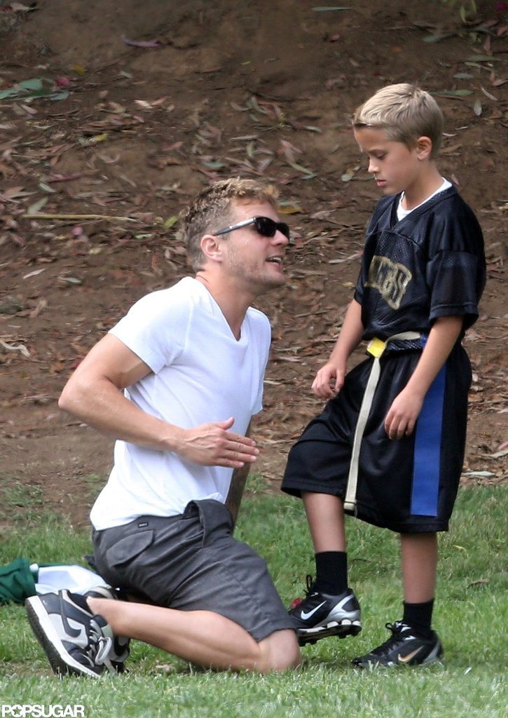 Ryan Phillippe helped Deacon during his flag football game.