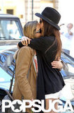 Nina Dobrev planted a kiss on her mom in NYC.