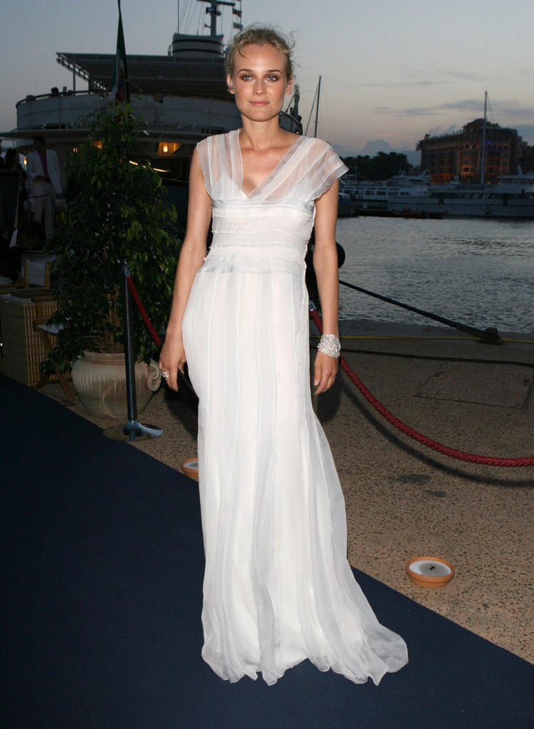She chose a simple yet totally elegant Alberta Ferretti gown for the designer's private cocktail party in 2007.