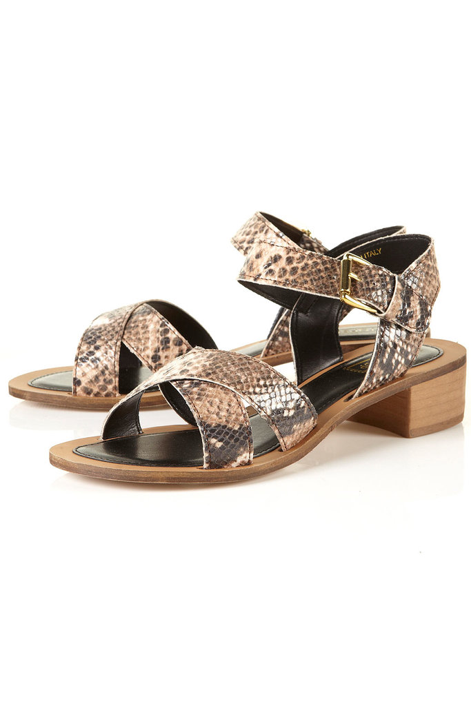 Snakeskin adds interest to this everyday style. Pair these with your favorite LWD to add a little exotic contrast.  Topshop Nico Snake Low Heel Sandals ($90)
