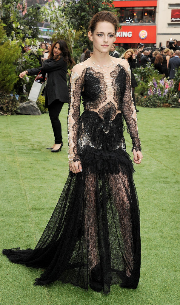 Kristen Stewart's Marchesa gown at the UK premiere of Snow White and the Huntsman featured sheer insets at the sleeves and bodice and a lacy, see-through skirt