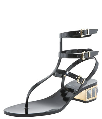 The heel on these may be low, but they're still high-impact. Add them to your prettiest dresses for a cool-girl contrast.  Valentino Studded Low-Heel Jelly Thong Sandal ($575)