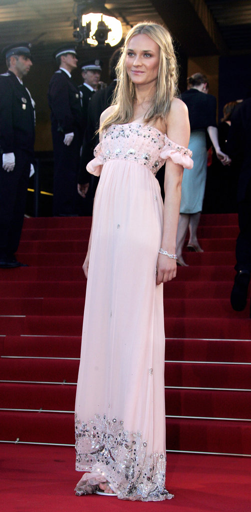 Diane went for bohemian goddess in this light pink off-the-shoulder Roberto Cavalli number in 2005.