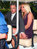 Britney Spears and Jason Trawick sat close on their way to the Fox Upfronts party in NYC in a golf cart.