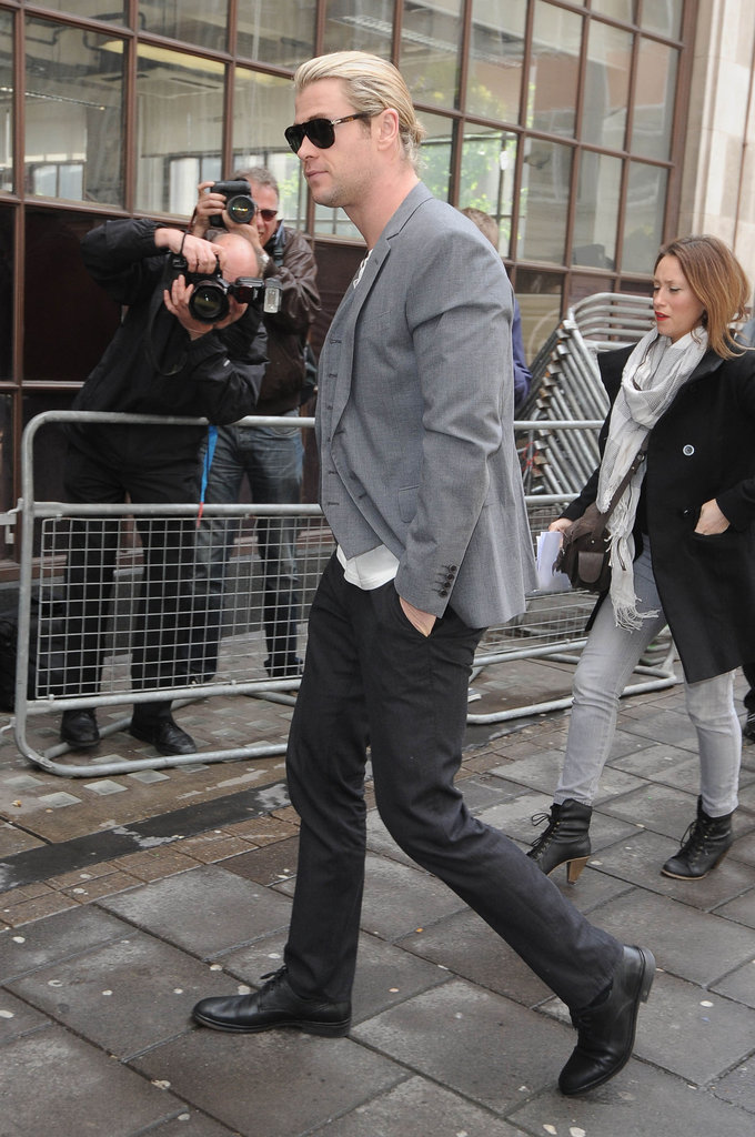 Chris Hemsworth arrived at Radio One in London.