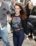 Kristen Stewart waved to fans.