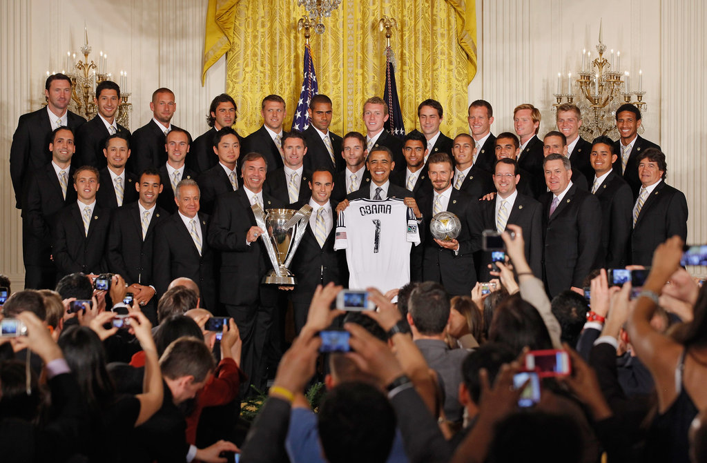 The LA Galaxy posed with President Obama.