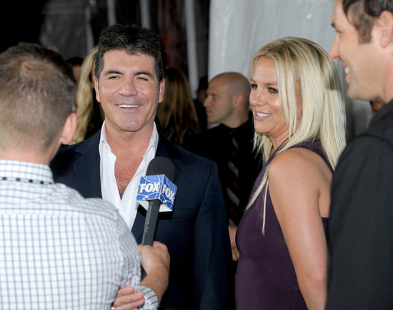 Simon Cowell and Britney Spears were interviewed together at the Fox Upfronts party in NYC.