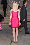 Dakota Fanning channeled a sweet yet sexy vibe at the 2012 Tribeca Film Festival, offsetting her hot pink Lanvin party dress with a gorgeous gold headpiece. Take a cue from Dakota by trying an interesting bauble with your usual pink pieces.