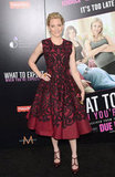 Elizabeth Banks opted for a ladylike, embroidered Alexander McQueen sheath with a waist-defining fit-and-flare silhouette and two-tone McQueen pumps.