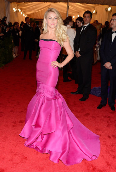 Julianne Hough made a splash at the 2012 Met Gala in a bold hot pink Carolina Herrera fishtail gown.