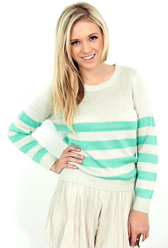 We'd pair this cozy striped sweater with a pair of cutoff shorts. West Coast Wardrobe Seaside Stripe Sweater ($34)
