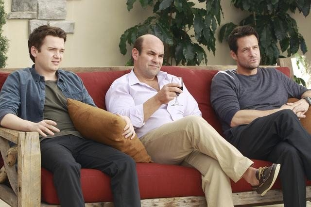 Josh Hopkins, Ian Gomez, and Dan Byrd on Cougar Town. Photo copyright 2012 ABC, Inc.