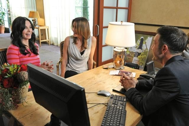 Christa Miller, Courteney Cox, and David Arquette on Cougar Town. Photo copyright 2012 ABC, Inc.