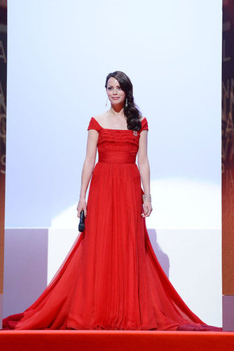The festival's master of ceremonies Bérénice Bejo stunned in a red Louis Vuitton gown.