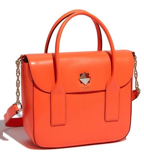 Punch up your classic satchel shape with an unexpected twist of orange. Wear this style with low-key pieces and let the bright hue do the talking. Kate Spade New York New Bond Street Florence Flap Satchel ($448)