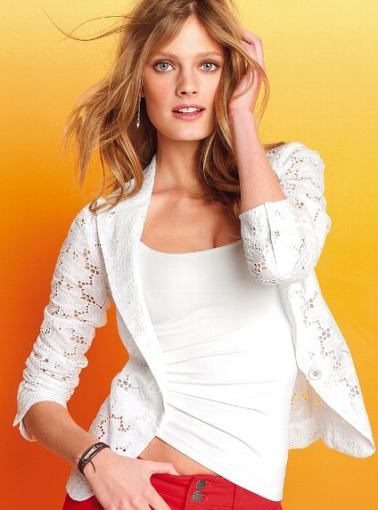We love the peekaboo effect of an eyelet jacket. Victoria's Secret Eyelet Jacket ($88)