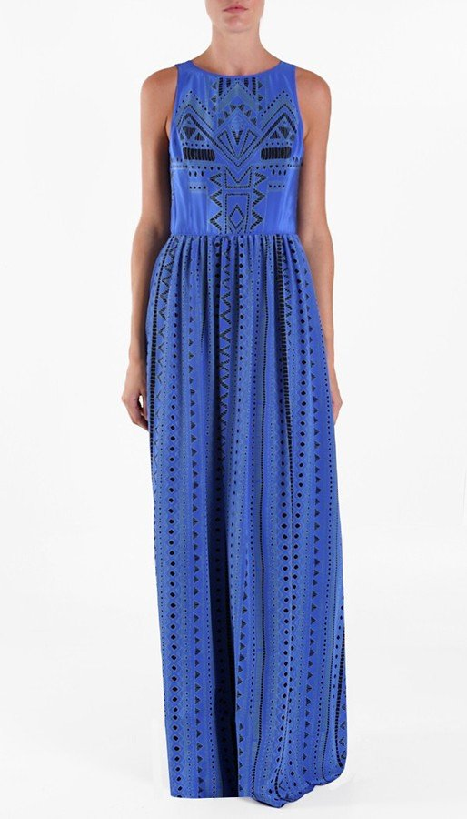 We're feeling this cobalt-blue dress for a beach wedding.  Tibi Printed Eyelet Long Dress ($495)