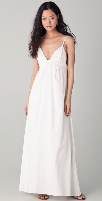 This eyelet maxi dress is perfect for a bridal or baby shower. Dallin Chase Dani Swirl Eyelet Gown ($177)