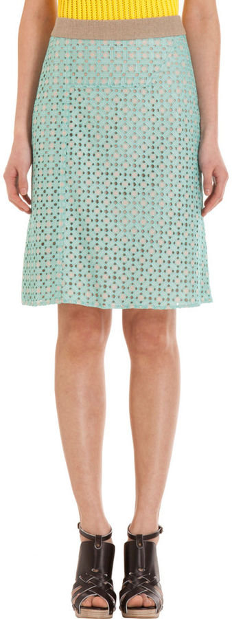 A pretty, mint-colored skirt that epitomizes feminine elegance. Derek Lam Eyelet Skirt ($1,290)