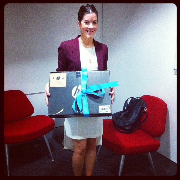 Our street style comp winner Elise picking up her new zippy Ultrabook — Inspired by Intel. How lucky!