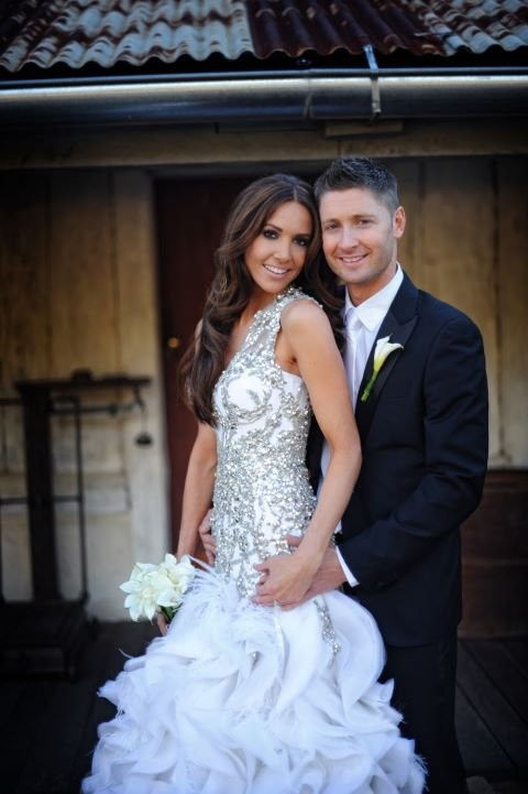 michael clarke marries kyly boldy in alex perry wedding dress see pictures of her gorgeous gown. Black Bedroom Furniture Sets. Home Design Ideas