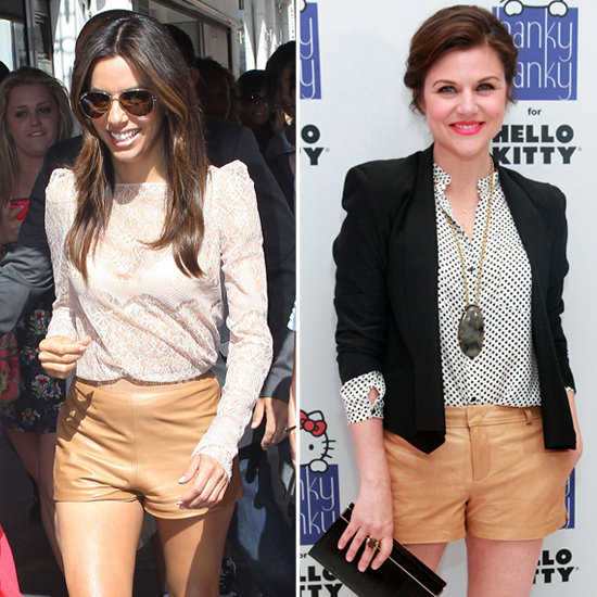 2 Springy Celeb-Inspired Ways to Rock Your Tan Leather Shorts