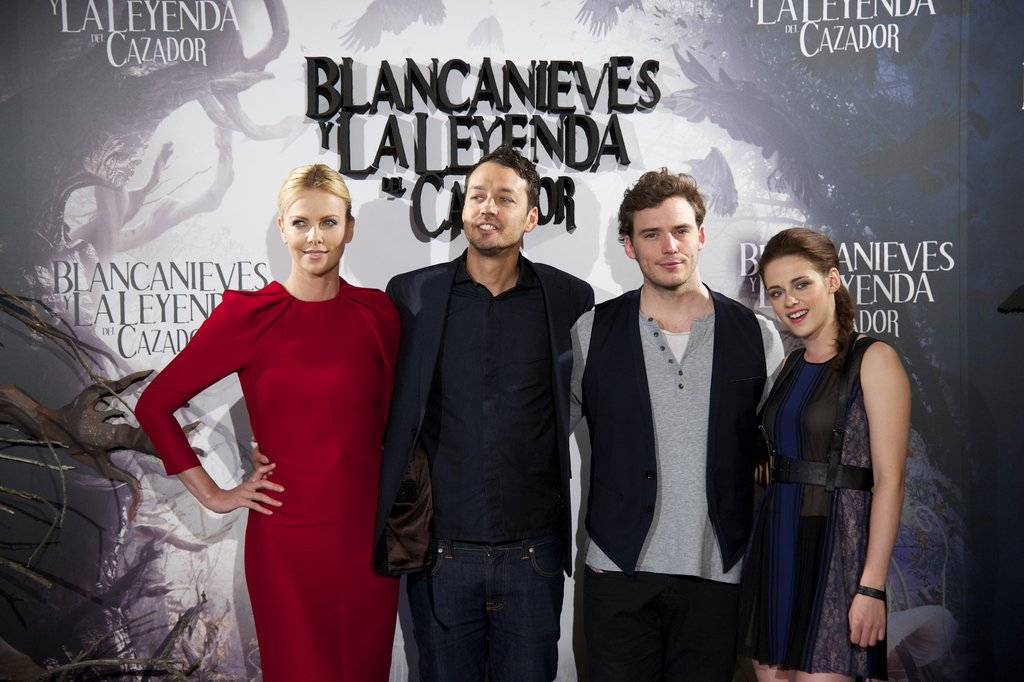 Charlize Theron, Rupert Sanders, Sam Claflin, and Kristen Stewart attended the Snow White and the Huntsman photocall in Madrid.