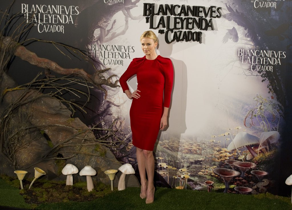 Charlize Theron struck a pose at the Snow White and the Huntsman photocall in Madrid.